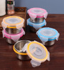 Steel Lock Multicolour 100 Ml Storage Container - Set of 6