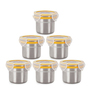 Steel Lock Silver Round 180 ML Food Containers - Set of 6