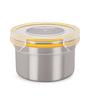 Steel Lock Silver Round 600 ML Container Set - Set of 4