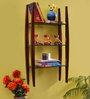 La Stella Espresso Walnut Wooden Lad 3 Tier Wall Shelf