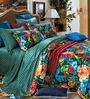 Stoa Paris Floral Multicolour Cotton Double Bed Sheet (with Pillow Covers) - Set of 3