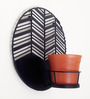 Studio Earthbox Amalfi Waves Black Metal Wall Planter with Terracotta Ceramic Pot