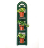 Studio Earthbox Firenze Green Wood and Metal Window Wall Planter with Terracotta Ceramic Pots