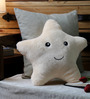 Stybuzz Beige Velvet 12 x 12 Inch Cute Star Abstract Cushion Cover with Insert