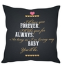 Stybuzz Black Poly Silk 16 x 16 Inch Forever Always Cushion Cover