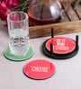 Stybuzz Drink Quotes Multicolour MDF Round Coasters - Set Of 4
