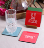 Stybuzz Drink Quotes Multicolour MDF Square Coasters - Set Of 4