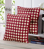 Stybuzz Maroon Velvet 16 x 16 Inch Polka Dots Embroidered Cushion Cover - Set of 5