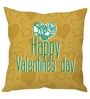 Stybuzz Mustard Poly Silk 16 x 16 Inch Valentines Day Cushion Cover