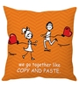 Stybuzz Orange Poly Silk 16 x 16 Inch 'Copy & Paste' Abstract Cushion Cover