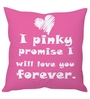 Stybuzz Pink Poly Silk 16 x 16 Inch Love You Forever Cushion Cover