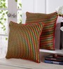 Stybuzz Red Dupion Silk 16 x 16 Inch Colour Block Embroidered Cushion Cover - Set of 5