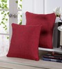 Stybuzz Red Jute 16 x 16 Inch Embroidered Cushion Cover - Set of 5