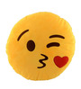 Stybuzz Yellow Velvet 14 x 14 Inch Kiss Emoji Cushion Cover with Insert