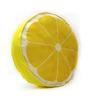 Stybuzz Yellow Velvet 16 x 16 Inch Lemon Fruit Slice Cushion Cover with Insert