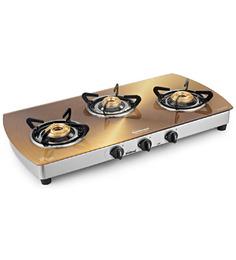 Sunflame Crystal Metal Art Gold Toughened Glass 3-burner Cooktop