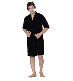 Superior Black Cotton Bath Robe