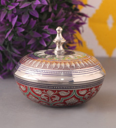 Suriti Multicolour Brass Marori Round Shaped Box