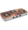 Sunflame Crystal Metal Art Copper Toughened Glass 3-burner Auto Ignition Cooktop