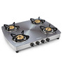 Sunflame Crystal Metal Art Silver Toughened Glass 4-burner Auto Ignition Cooktop
