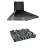 Sunflame Venza 60 cm Hood Chimney & Crystal Toughened Glass 4 Burner Cooktop