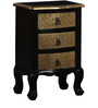 Kanak Three Drawer End Table with Brass Repousse Work by Mudramark