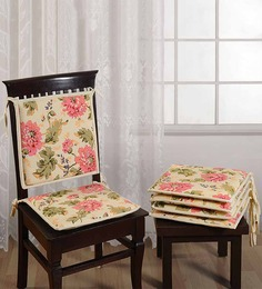 Swayam White Cotton 16 X 16 Inch Printed Chair Pad - Set Of 4