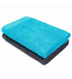 Swiss Republic Grey And Blue Cotton 28 X 59 Bath Towel - Set Of 2 - 1563300