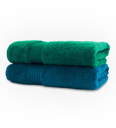 Swiss Republic Blue & Green Bath Towel - Set Of Two