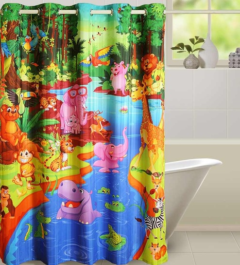 swayam multicolour polyester shower curtain best deals with price comparison online shopping. Black Bedroom Furniture Sets. Home Design Ideas