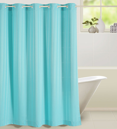 swayam blue polyester shower curtain best deals with price comparison online shopping price. Black Bedroom Furniture Sets. Home Design Ideas