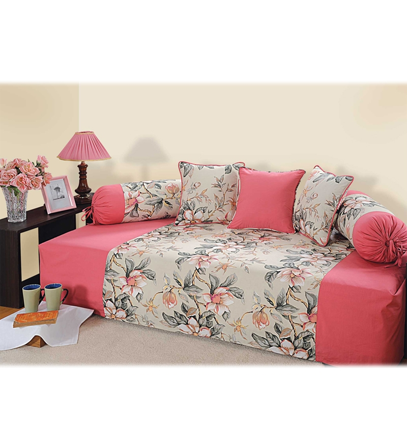 Swayam grey n peach diwan set by swayam online indian for Diwan bed set