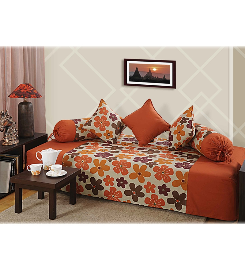 Swayam rust floral printed diwan set by swayam online for Diwan bed size