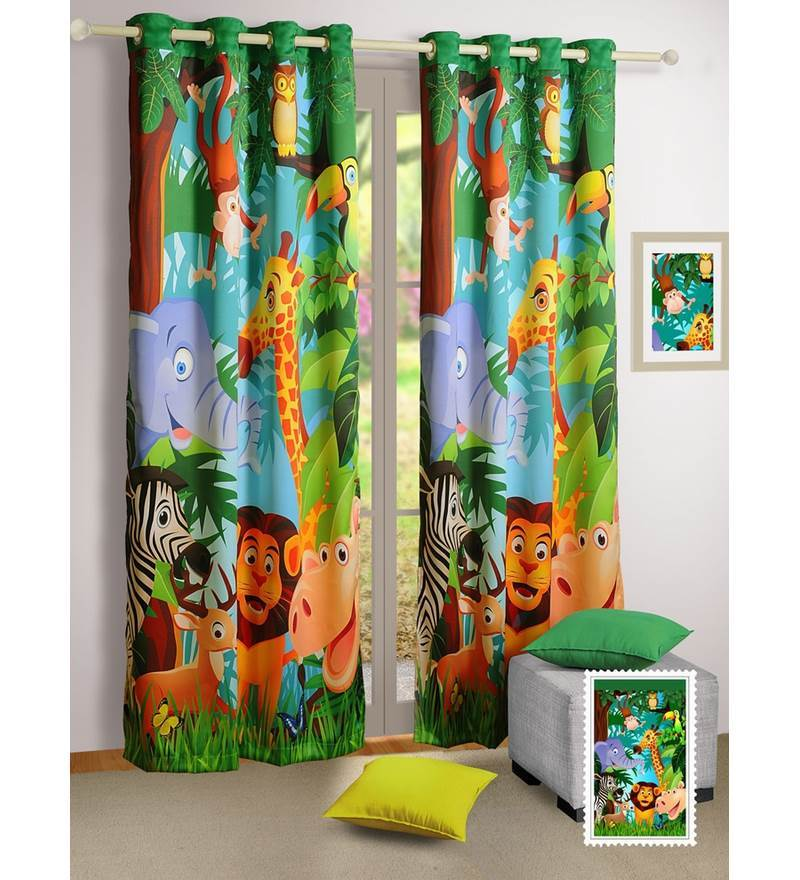 swayam digital printed kids door curtain with eyelets