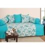 Swayam Blue Cotton Floral Diwan Set - Set of 6