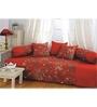 Swayam Red Cotton Paisley Motif Diwan Set - Set of 6