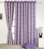 Swayam Purple Cotton 60 x 54 Inch Floral Eyelet Window Curtain