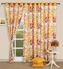 Swayam Yellow Cotton 60 x 54 Inch Motif Printed Eyelet Window Curtain