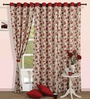 Swayam Red Cotton 60 x 54 Inch Floral Printed Eyelet Window Curtain