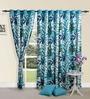 Swayam Leaf Printed Blue Cotton 60 INCH Eyelet Window Curtain