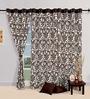 Swayam Choco Brown Cotton 60 x 54 Inch Floral Eyelet Window Curtain