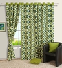 Swayam Green Rhombus Printed Eyelet Window Curtain with Lining- 5 Ft