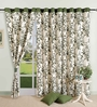 Swayam Olive Green Cotton 60 x 54 Inch Eyelet Window Curtain