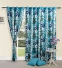 Swayam Printed Blue Cotton 60 INCH Eyelet Window Curtain with Lining