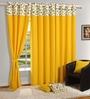 Swayam Yellow Cotton 60 x 54 Inch Eyelet Window Curtain
