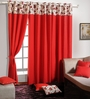 Swayam Red Cotton 60 x 54 Inch Eyelet Window Curtain