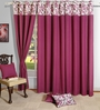 Swayam Solid Wine Purple Cotton 60 INCH Eyelet Window Curtain with Lining