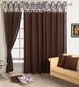 Swayam Choco Brown Cotton 60 x 54 Inch Solid Eyelet Window Curtain