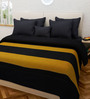 Swastika Black and Yellow 100% Cotton Queen Size Bed Cover