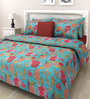 Swastika Blue Cotton Queen Size Bed Sheet with 2 Pillow Covers
